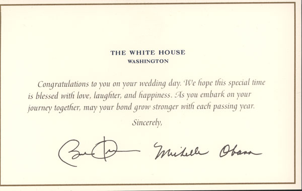 Wedding card from the President President Barack and Michelle Obama