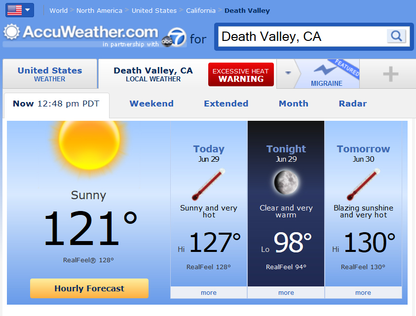 Accuweather Local Weather Forecasts : Death valley weather accuweather forecast for ca