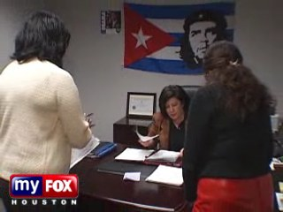 guevara flags hanging walls pretty balances obamas offices houston florida