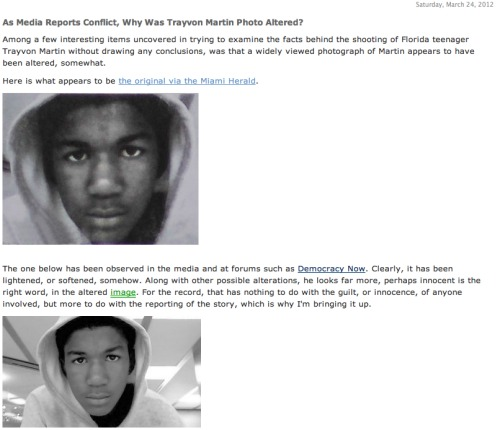Trayvon Martin Photos Altered to look innocent